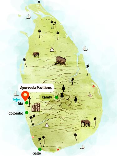 Jetwing Ayurveda Pavilions auf Sri Lanka Lage